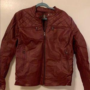 Red Pleather Moto Jacket Size 3X